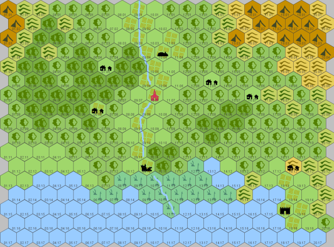 draft player map of Avignon area, 6 miles per hex